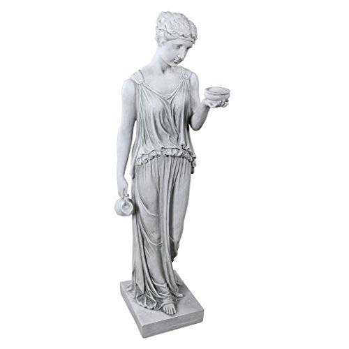 Design Toscano Hebe, die Göttin der Jugend griechische Gartenstatue, Polyresin, antikes steingrau, groß 81 cm