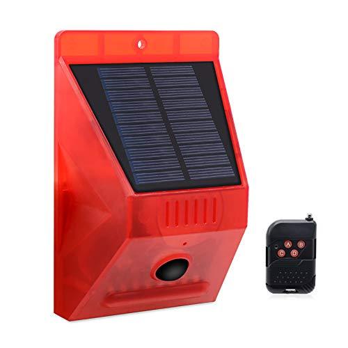 Solar Alarm Licht, Solar Sensor Sicherheitslicht, Wasserdicht Solar Warnlicht 129db mit Fernbedienung und Bewegungsmelder für Zaun, Bauernhof, Haus, Garten, Hof (1 Stück)