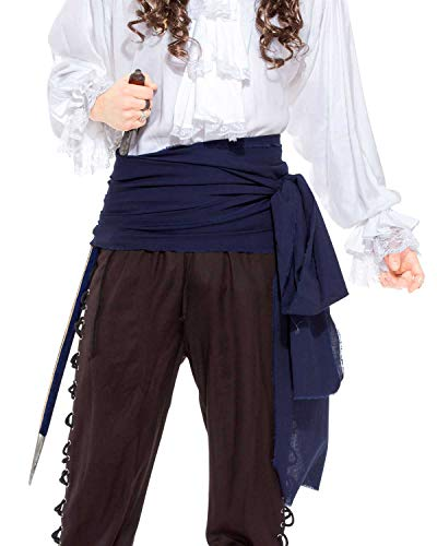 Piraten-Schärpe, Mittelalter, Renaissance, großes Leinentuch, Artikel C1417, C1417-Navy, Blau, C1417-Navy