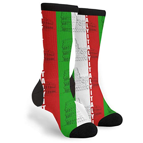 Italy Italian Flag Unisex Adult Fun Cool 3D Print Colorful Athletic Sport Novelty Crew Tube Socks, Black and White, One Size