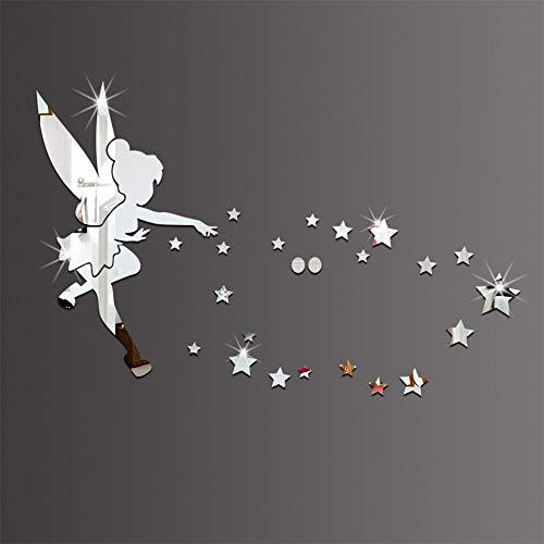 Kacniohen Tinkerbell Fee Acryl dekorative Wandspiegel Mirrored Bell-Hauptdekor-Wand-Aufkleber (Silber) Acryl Spiegel Wandaufkleber