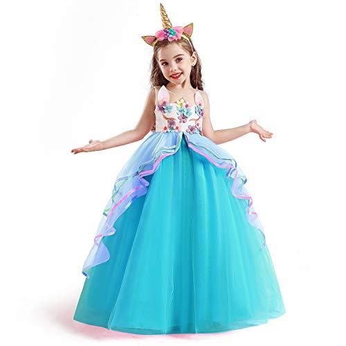 TTYAOVO Vestido de Fiesta con Volantes de Princesa sin Mangas para Niñas Tamaño(160) 11-12 años 700 Azul