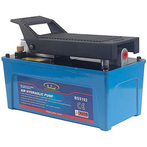 BESTOOL Air Hydraulic Pump - 10,000 PSI Hydraulic Foot Pump Pressure 1/2 Gal Reservoir Air Hydraulic Pump Air Actuated Treadle Foot Pump (Single Acting)Blue