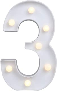 Decorative Led Light Up Number Letters Alphabet Numbers Letter Marquee Night Lights Plastic Lamp Sign for Wedding Decor Festival Home Birthday Party Bar Decoration Christmas Battery Operated (3)
