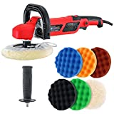 TCP Global 7' Professional High Performance Variable Speed Polisher with a 6 Pad Buffing and Polishing Kit - Includes 5-8' Waffle Foam & 1-8' Wool Grip Pads and a Pad Cleaning Spur