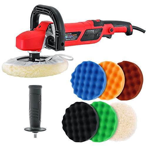 "TCP Global 7"" Professional High Performance Variable Speed Polisher with a 6 Pad Buffing and Polishing Kit - Includes 5-8"" Waffle Foam & 1-8"" Wool Grip Pads and a Pad Cleaning Spur"