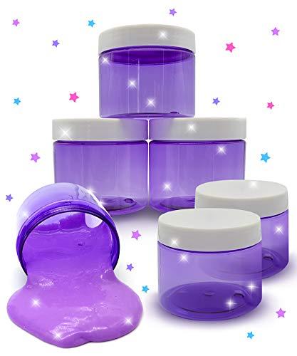 Original Stationery Slime Container mit Deckel 6 Unzen Perfekte Lila Schleim behälter No BPA's Safe für Kinder Kleine Plastikvorratsdosen Schraubverschluss für jeden Slime Maker (Clear Purple)