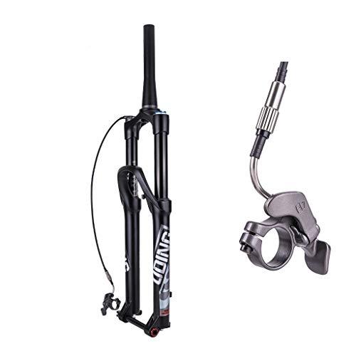 VXXV 26' 27.5' Bike Black Front Fork, Remote Lockout Magnesium Alloy Tapered Air Suspension Forks Travel: 140mm (Size : 26 inch)
