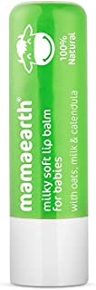 Mamaearth 100% Natural Milky Soft Lip Balm for Kids,Babies for 12 Hour Moisturization, with Oats, Milk & Calendula – 4g
