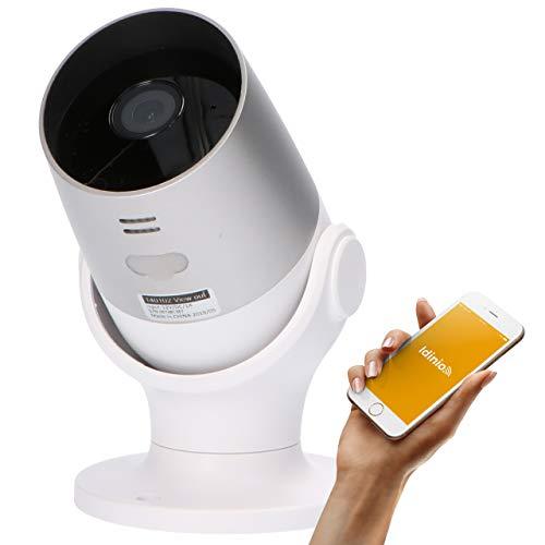 idinio® View out, Outdoor-Kamera IP65, 1080p, Bewegungserkennung, IR-Nachtsicht, Alarmmeldung, Gegensprechfunktion, kostenlose App für iOS und Android, Skill für Echo