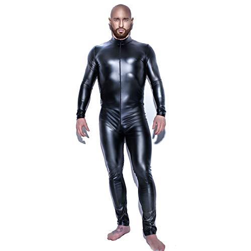 Herren-Catsuit aus glänzendem Lackleder, Ganzkörper-Herren-Katsuit, Zentai-Design, sexy, enganliegender Latex-Reißverschluss, Clubwear, Größe XL