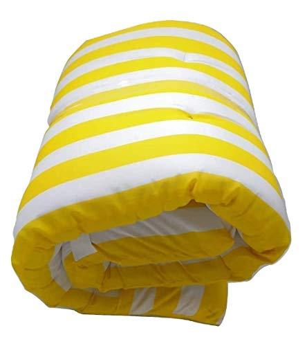 Dabuty Online, S.L. Pack de 2 Cojines de Tumbona Acolchada de Rayas 180 x 55 X 5 cm Colchón Texturas Colchoneta Tumbona (Amarillo)