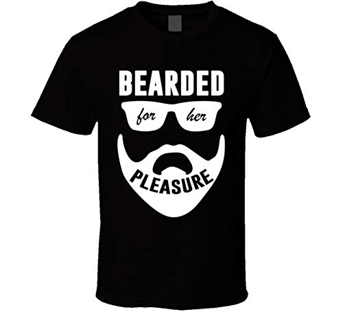 private label products Bearded for Her Pleasure Cool Funny Beard Lover Sexual Humor Meme T Shirt Black