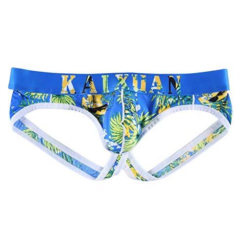 TiaoBug Herren Sexy Unterwäsche Camouflage Unterhosen Männer Boxershorts Slips Bulge Beutel Jockstrap Mini String Tanga Gay Underwear S M L XL Blau Hawaii L