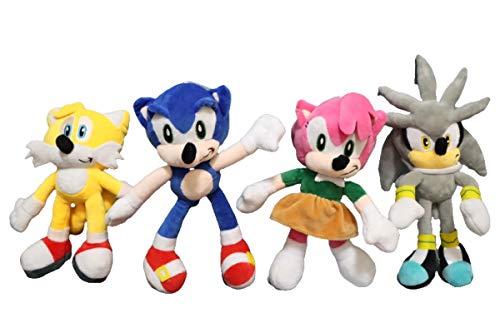 QIMA Sonic Toy 4 unids/Lote Sonic y Miles Prower Tails muñecos de Peluche de 40cm Hijo