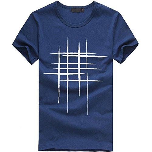 SANFASHION Männer Sommer Druck Brief Kurzarm Baumwolle Casual Bluse T-Shirt (3XL, Marine)