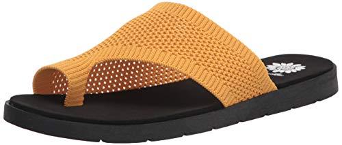 Yellow Box Women's Feeza Flat Sandal, Marigold, 9