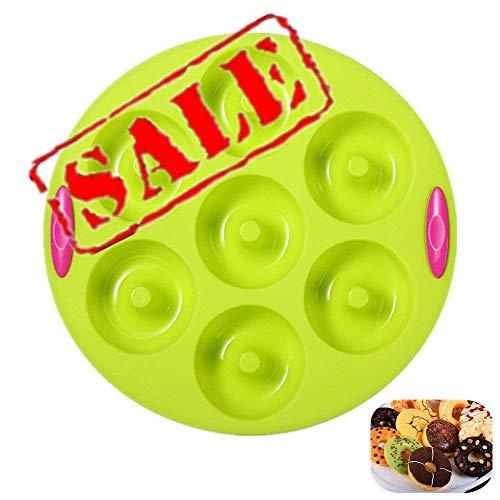 KeepingcooX Runde Donut Silikon Formen, 7 Hohlraum, Antihaft-Backblech Donut Maker Pfanne Hitzebeständigkeit für Kuchen Keks Bagels Muffins- Doppel-Texturierte Griffe Farbe