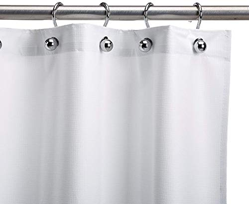 CSI Bathware CUR48x74NH Assure Vinyl Shower Curtain, White