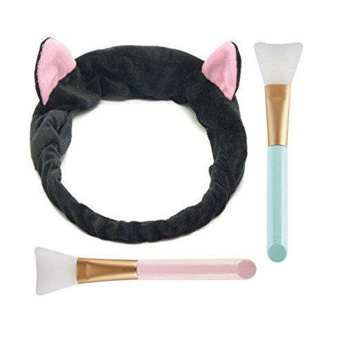 Aysekone DIY Facial Mask Tool Set:1pc Cute Black Elastic Cat Ears Wash Hair Headband and 2pc Professional Silicone Facial Face Mask Brushes