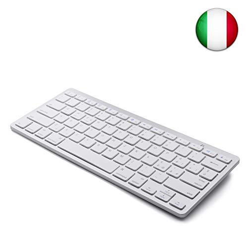 Tastiera Bluetooth senza fili italiana Boriyuan ultrasottile per Windows IOS Android Samsung PC Mac Tablet