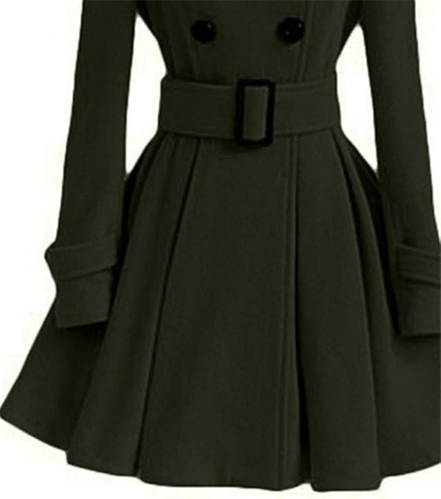 Onsoyours Zweireiher Stehkragen Mit Gürtel Langarm Peplum Wollmantel Winter Ausgestellter Mantel Damen Mode Coat Grün