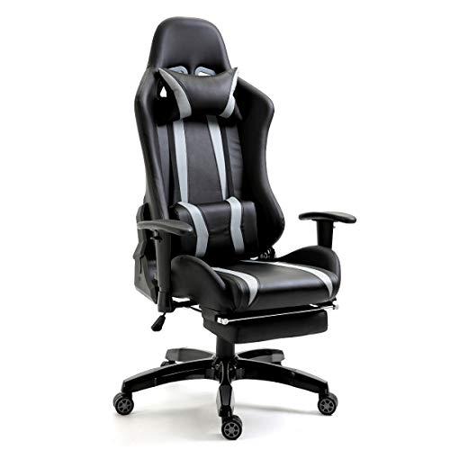 SVITA Gaming Stuhl Bürostuhl Schreibtischstuhl Drehstuhl Fußablage Farbwahl (Grau)