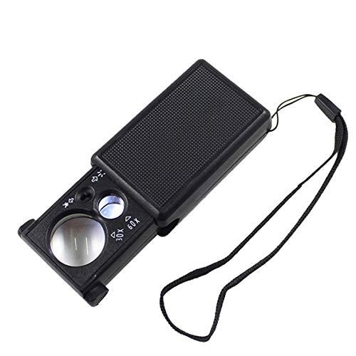 Heaviesk Lupa de Aumento 30-60X con luz LED Violeta Lente de Vidrio óptico Joyas Lupa Lupa Lupa