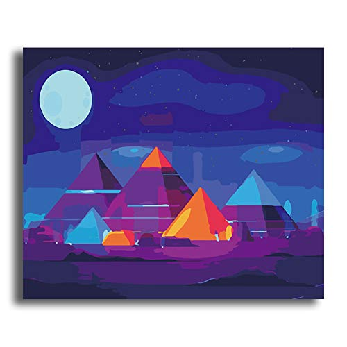 SLCE Peinture par Numero Adultes Peinture, Enfants Peindre par Nombre Kits Home Decor, Les Accessoires Comprennent des Pinceaux Et des Pigments 40X50CM,Pyramid,Wooden Frames