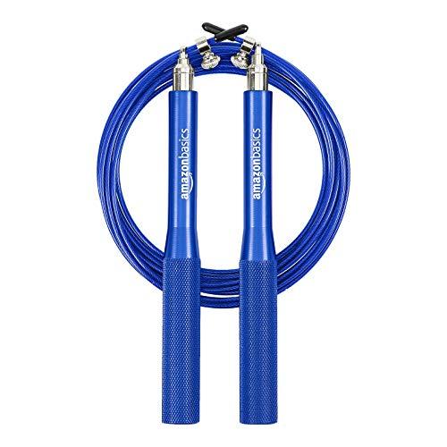 Amazon Basics, corda per salto in velocità, con impugnature in alluminio, blu