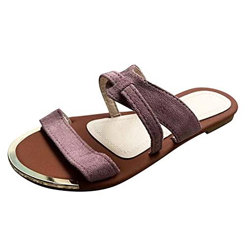 URIBAKY - Pantuflas planas florales para mujer, estilo casual, de punta redonda, elegantes, sandalias con correas, cómodas, planas, zapatos de playa, (malva), 37 EU