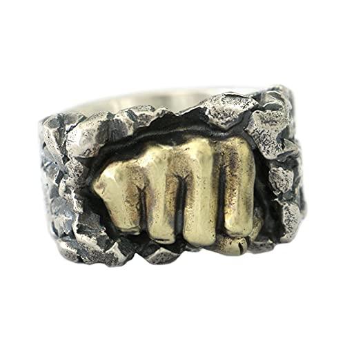 LINSION Anillo de latón con piedra de rotura de puño de plata de ley 925 para hombre, joyería punk, TA77B, talla N1/2 a Z4, Metal,