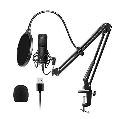 USB microfoonkit 192 KHZ / 24 BIT professionele Podcastcondensatormicrofoon voor PC Karaoke Studio opnamemicrofoon kit met geluidskaart