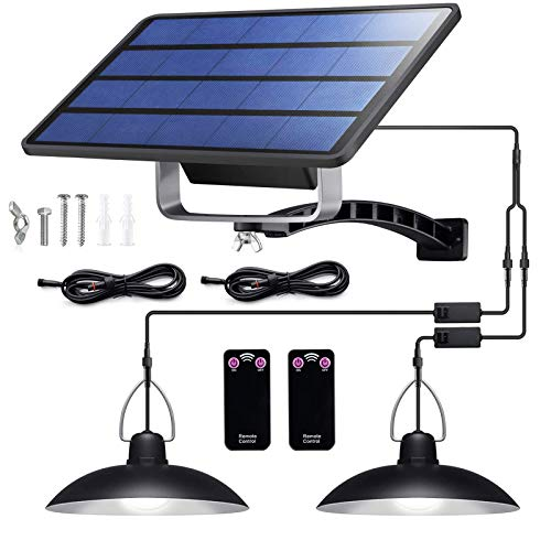 CosCosX Solar Lights Outdoor,IP65 Waterproof Solar Lights with 32 LED Lights and 2 Remote Control,Solar Powered Shed Light with ON Off Switch,LED Pendant Lights for Yard Decorate(White Light)
