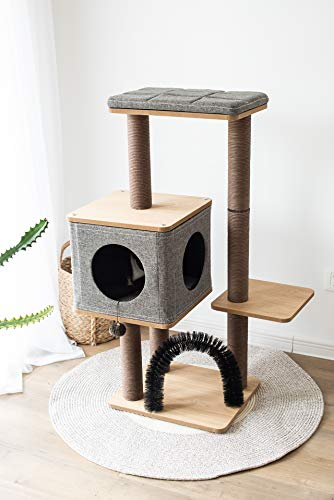 Three-Level Elevated Cat Tree Condo with Massage & Particle Board