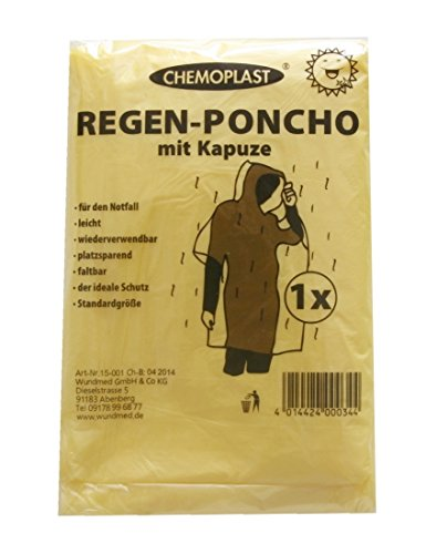 Chemoplast 3er Set Regenponcho Regencape Regen/überzug mit Kapuze