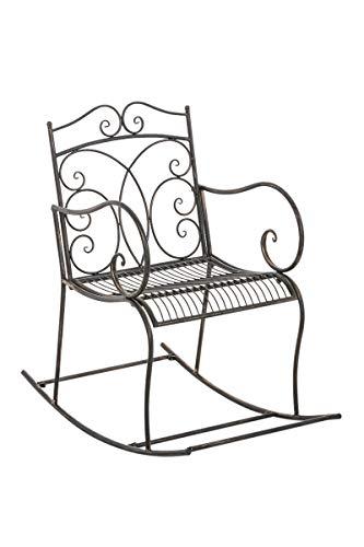 Fauteuil à Bascule EDITH, Chaise de Jardin en Fer Forgé avec un Design Antique et des Ornements Magnifiques, Chaise de Jardin avec Accoudoirs et Dossier, Hauteur Assise 48 cm, Couleur au choix:, Couleurs:marron clair
