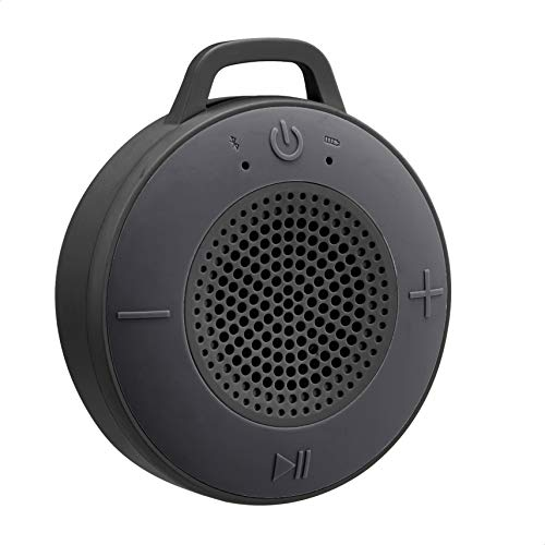 AmazonBasics Kabelloser Dusch-Lautsprecher mit 5-W-Treiber, Saugnapf, eingebautem Mikrofon, Grau