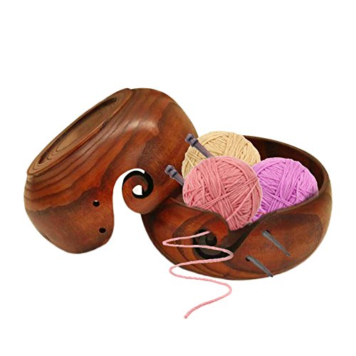 Prokth® - Cuenco de hilo de madera para tejer ganchillo, organizador de cuenco de almacenamiento de lana ecológico, madera, 14-16 cm