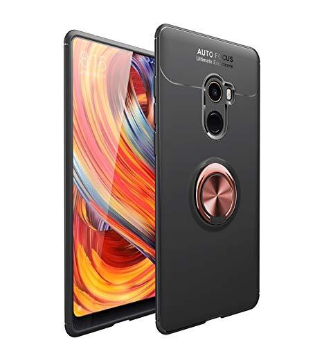 Bolso de un teléfono portátil Funda protectora para Xiaomi MI Mix 2 Caso Soft TPU Funda a prueba de golpes 360 grados Rotación Metal Anillo Magnético Kickstand DISIPACIÓN DE CALOR DISTRIBA DE CAÍDA PR