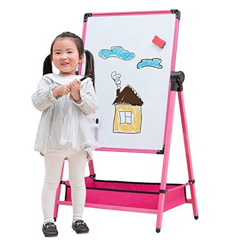 OSHA HJWMM - Caballete de madera para niños, doble cara, color blanco y negro, con accesorios de arte para niños, rotación de 360°, altura ajustable (color: rosa, tamaño: 112 x 48 cm)