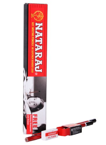 Nataraj Bold Dark Writing 10 Pencils Box With One Eraser Or Sharpener Free by Nataraj