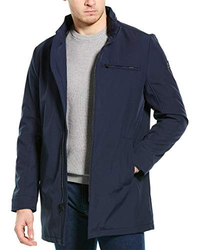 Kenneth Cole New York Men's Mid Length Softshell Jacket, navy, X-Large