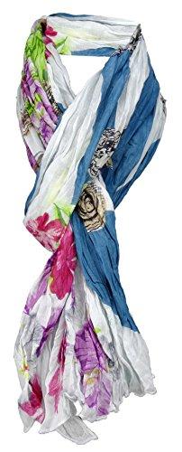 TigerTie gecrashter sjaal in petrol groen witgrijs roze paars bruin geel zwart patroon - maat 180 x 100 cm.