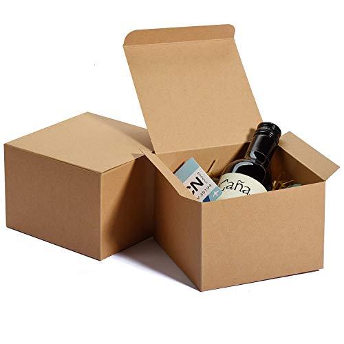 HOUSE DAY Cajas de Kraft 12x12x9cm, Cajas de Regalo de Papel marrón con Tapas, Cajas para Envolver Regalos, Caja de Regalo de Padrinos de Boda, (10PACK)