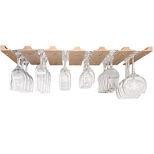 Under Cabinet Wine Glass Holder - Space Saving Unfinished Wooden Stemware Rack - Our Wine Glass Rack Is Handmade In The USA - Double Rack For 18 Wine Glasses - 11' Deep x 26.75' Wide x 0.75' High