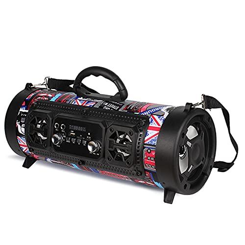 ZEIYUQI Altavoz Bluetooth de Gran Potencia de 15W Subwoofer Estéreo InaláMbrico Altavoces de Graves Pesados Reproductor de Música Soporte KTV Pantalla LCD Radio FM TF,Blue