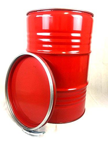 Srm - Design Metallfass 210 Liter Blechfass Fass Ölfass Tonne mit Spannring und Deckel Rot NEU