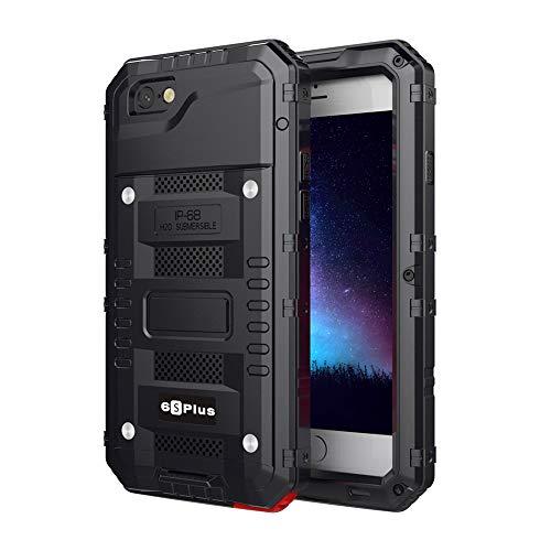 Beeasy Hülle Kompatibel mit iPhone 6 Plus / 6S Plus,Wasserdicht Stoßfest Schutzhülle mit Bildschirm Outdoor Case Militärstandard Armor Handyhülle Metall Staubschutz für iPhone 6Plus/6SPlus,Schwarz