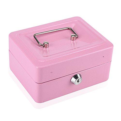 Lecxin Geldkassette, 1 Stück Mini Tragbare Stahl Petty Abschließbare Bargeld Geld Münztresor Sicherheitskassette Haushaltsaufbewahrung Veranstalter Tasche Sicherheitskassette(Rosa)